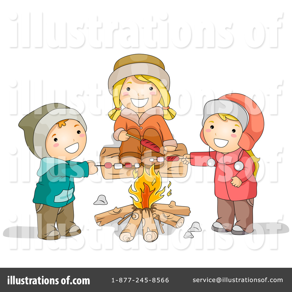 Illustration by bnp design. Campfire clipart family