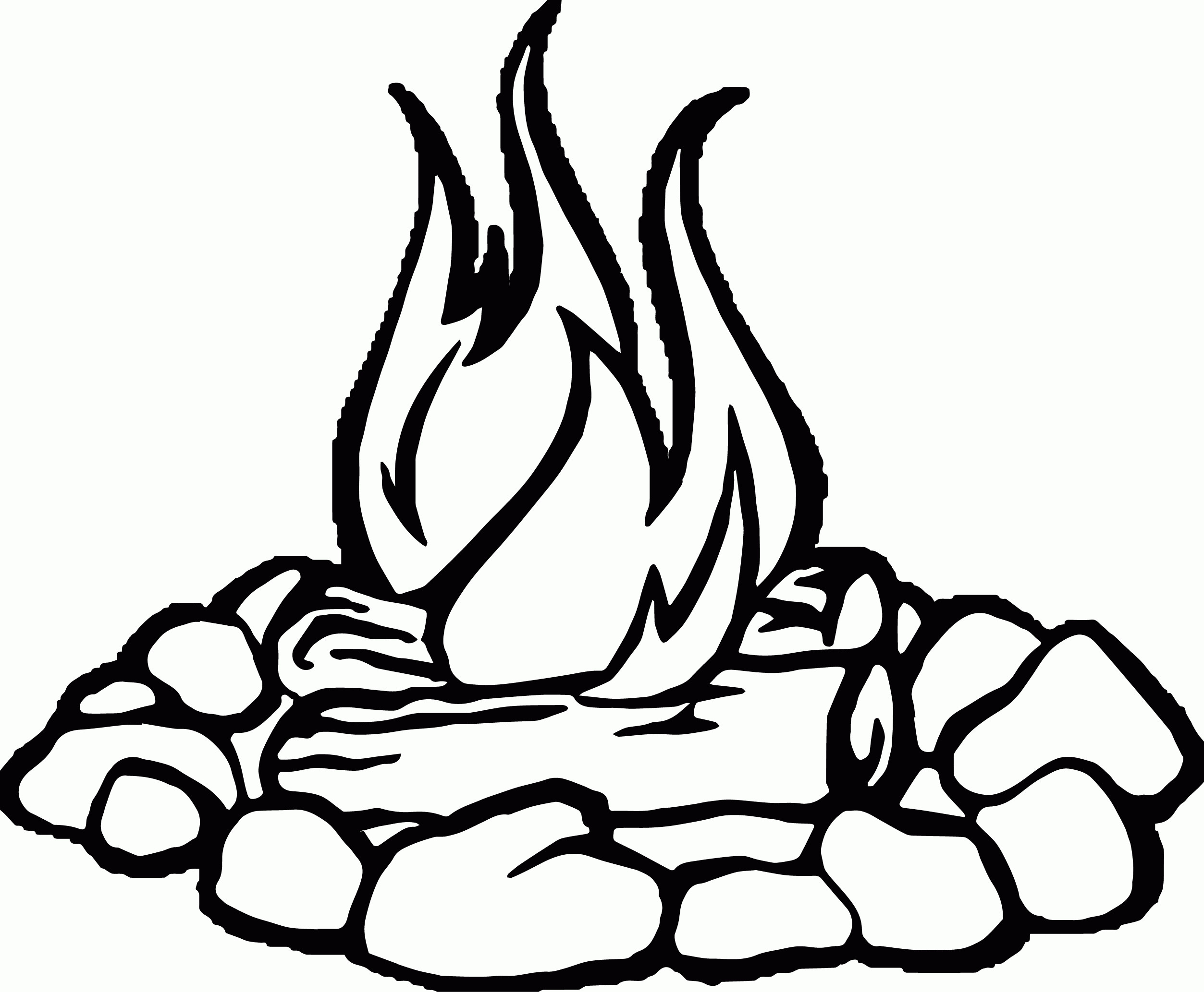 Black and white cliparts. Campfire clipart fire pit