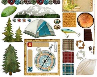 Camping digital scrapbook printable. Campfire clipart girl guide