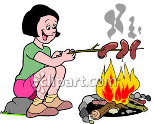 Campfire clipart hot dog