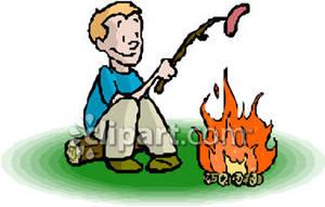 Campfire clipart hotdog. Boy roasting a hot