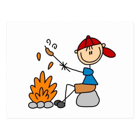 Camper roasting hot dogs. Campfire clipart hotdog