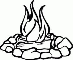 Pictures to color how. Campfire clipart line art
