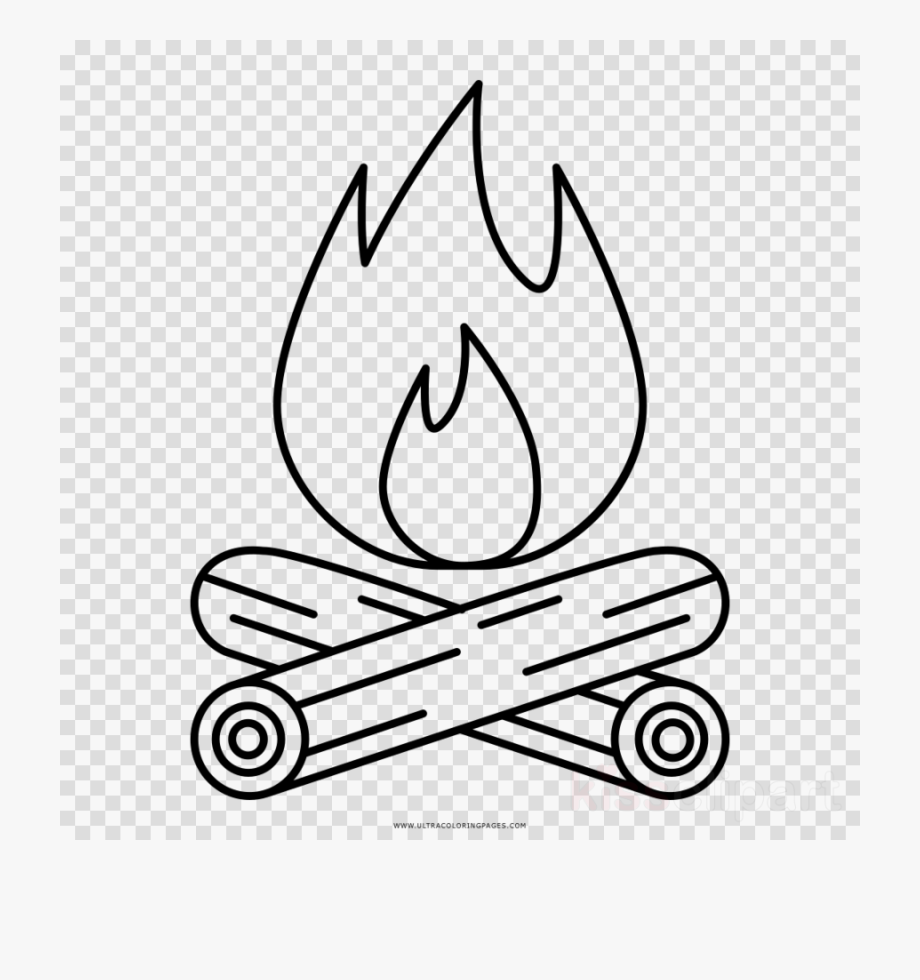 White camp fire drawing. Campfire clipart line art