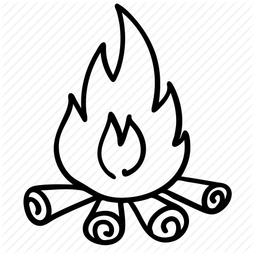 Campfire clipart line art. Black and white flower