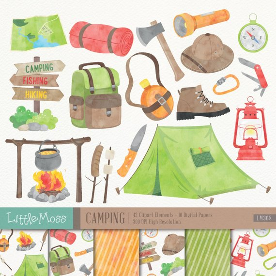 Camping digital watercolor from. Campfire clipart outdoor
