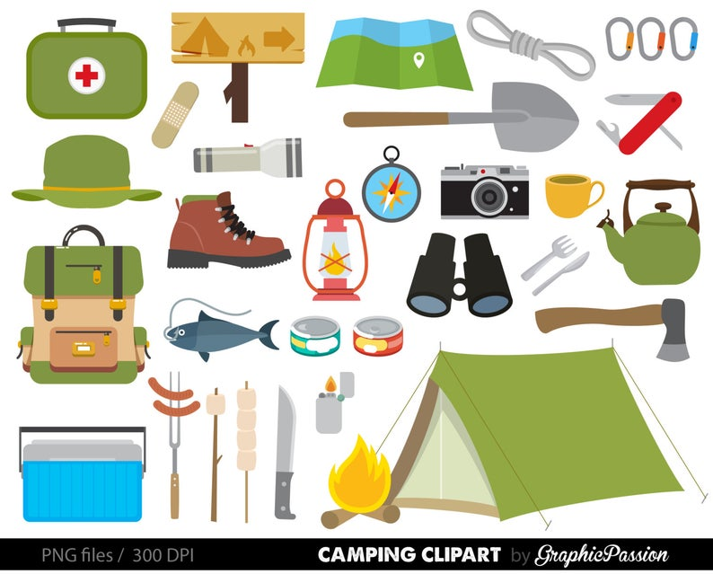 Campfire clipart outdoor. Camping graphics personal and