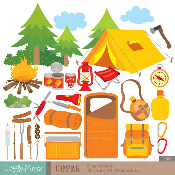 Camping Digital Clipart Outdoor Clipart Campfire Clipart