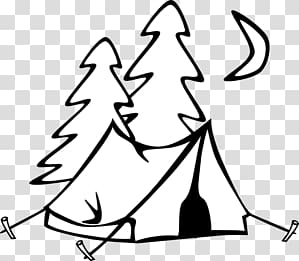 Campfire clipart outline. Camping tent transparent background