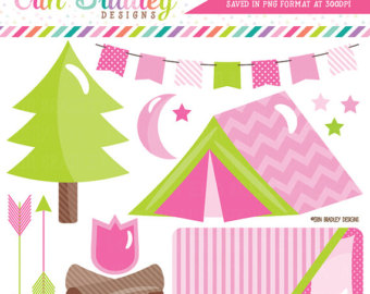 Camping etsy off sale. Campfire clipart pink
