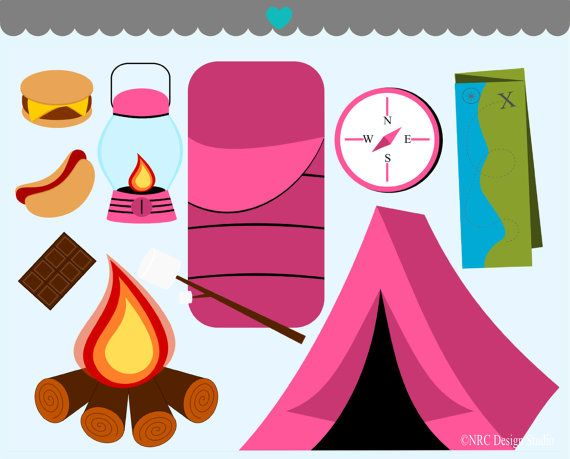 Campfire clipart pink. Girls clip art camping