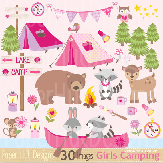 Campfire clipart pink. Girls camping camp clip