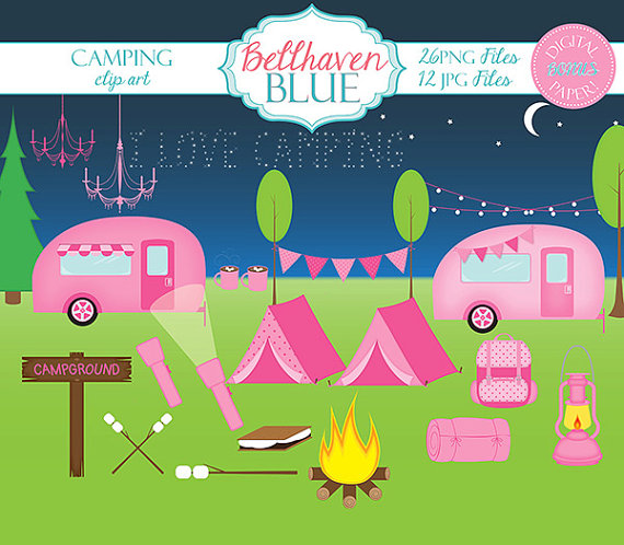 Camping and digital paper. Campfire clipart pink