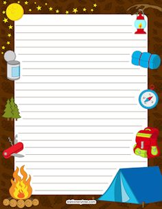 Camping stationery and writing. Campfire clipart printable