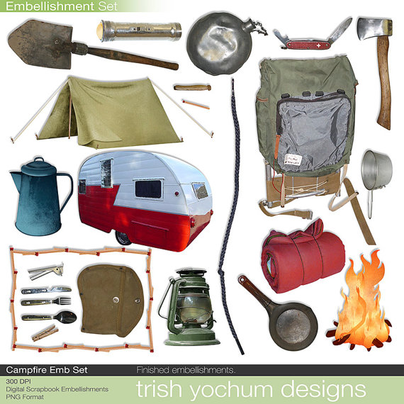 Campfire clipart printable. Camping digital scrapbook tent