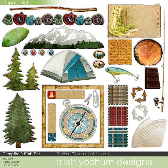 Camping digital scrapbook tent. Campfire clipart printable