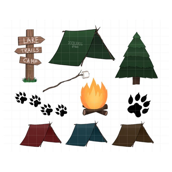 Camping digital planner stickers. Campfire clipart printable