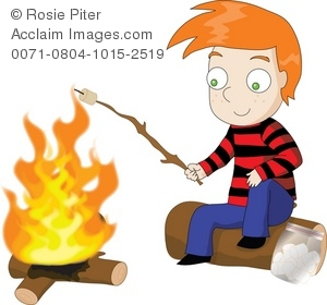 Character illustration of a. Campfire clipart roasting marshmallow