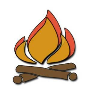 Camp camping with kids. Campfire clipart safety