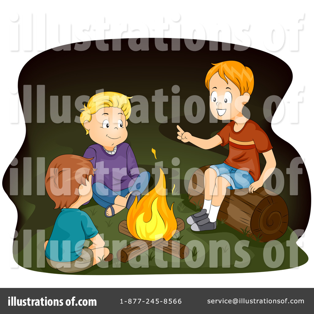 Illustration by bnp design. Campfire clipart scene