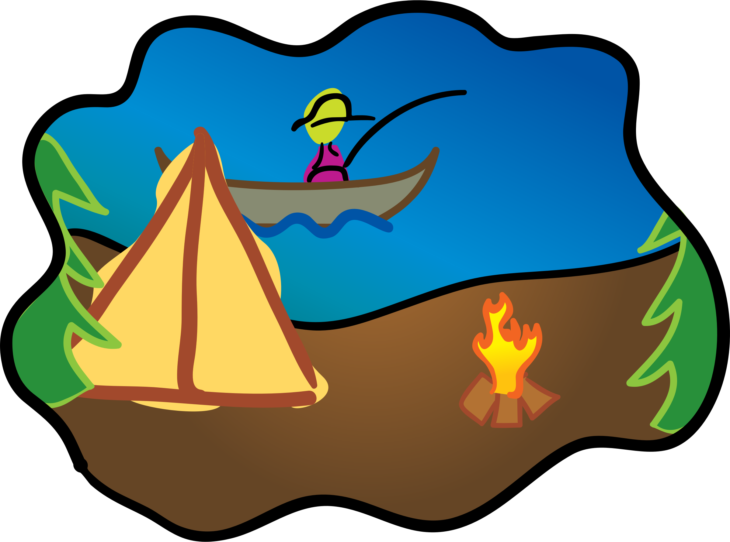 Happy camping big image. Land clipart park scene