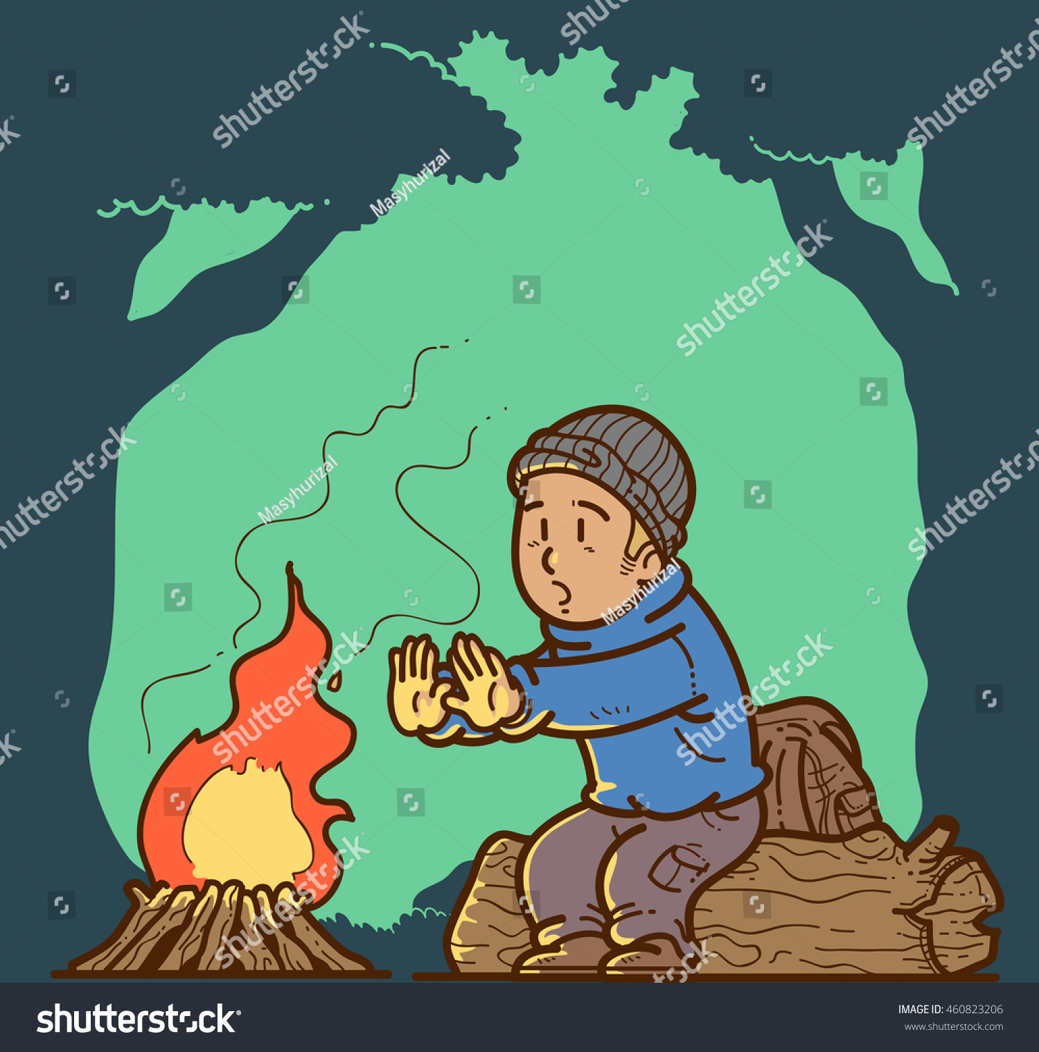 Bonfire warmth pencil and. Campfire clipart scene
