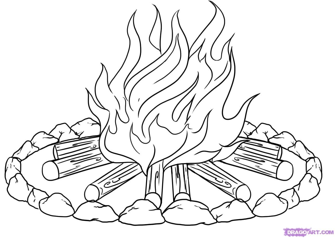 Campfire clipart sketch. Pictures to color how