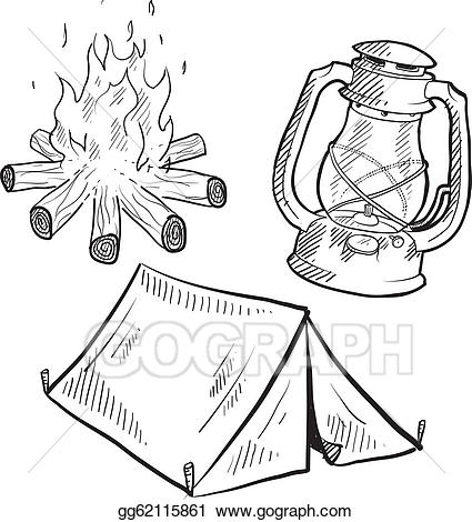 Vector art camping equipment. Campfire clipart sketch