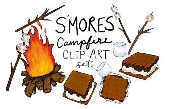Hand drawn s mores. Campfire clipart smore