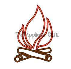Girl embroidery design figures. Campfire clipart stick figure