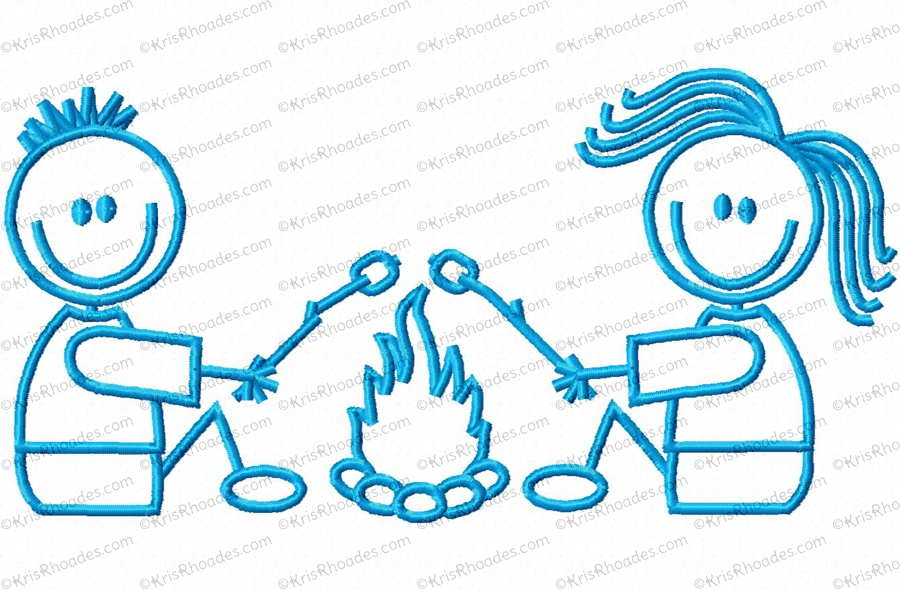 Couple embroidery design . Campfire clipart stick figure