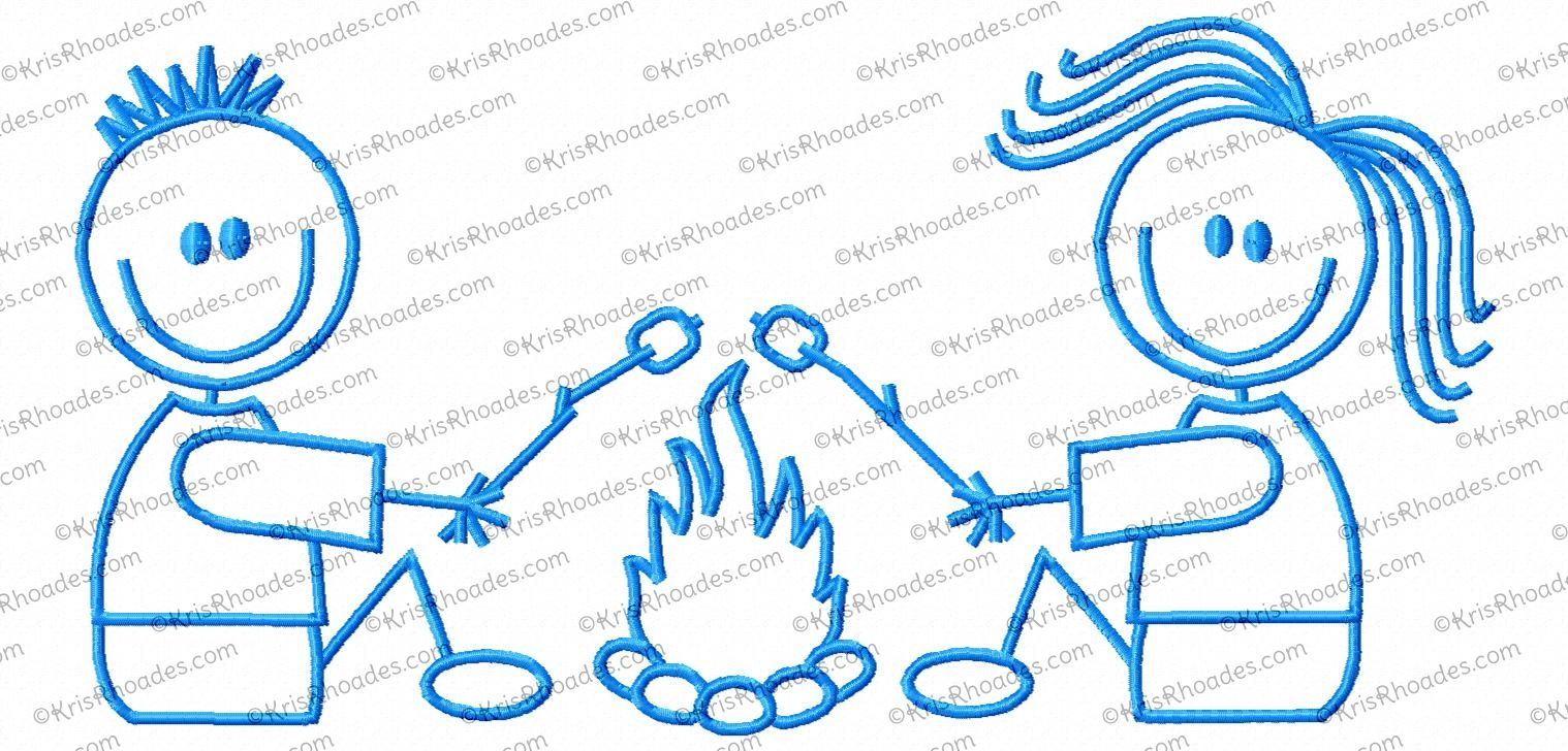 Campfire clipart stick figure. Couple embroidery design figures