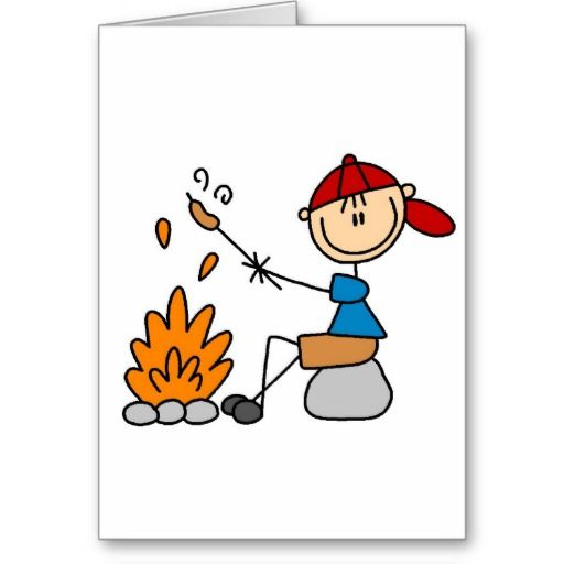 Campfire clipart stick figure. Hot dogs on card