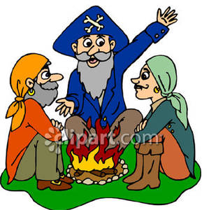 Pirates sitting around a. Campfire clipart storytelling