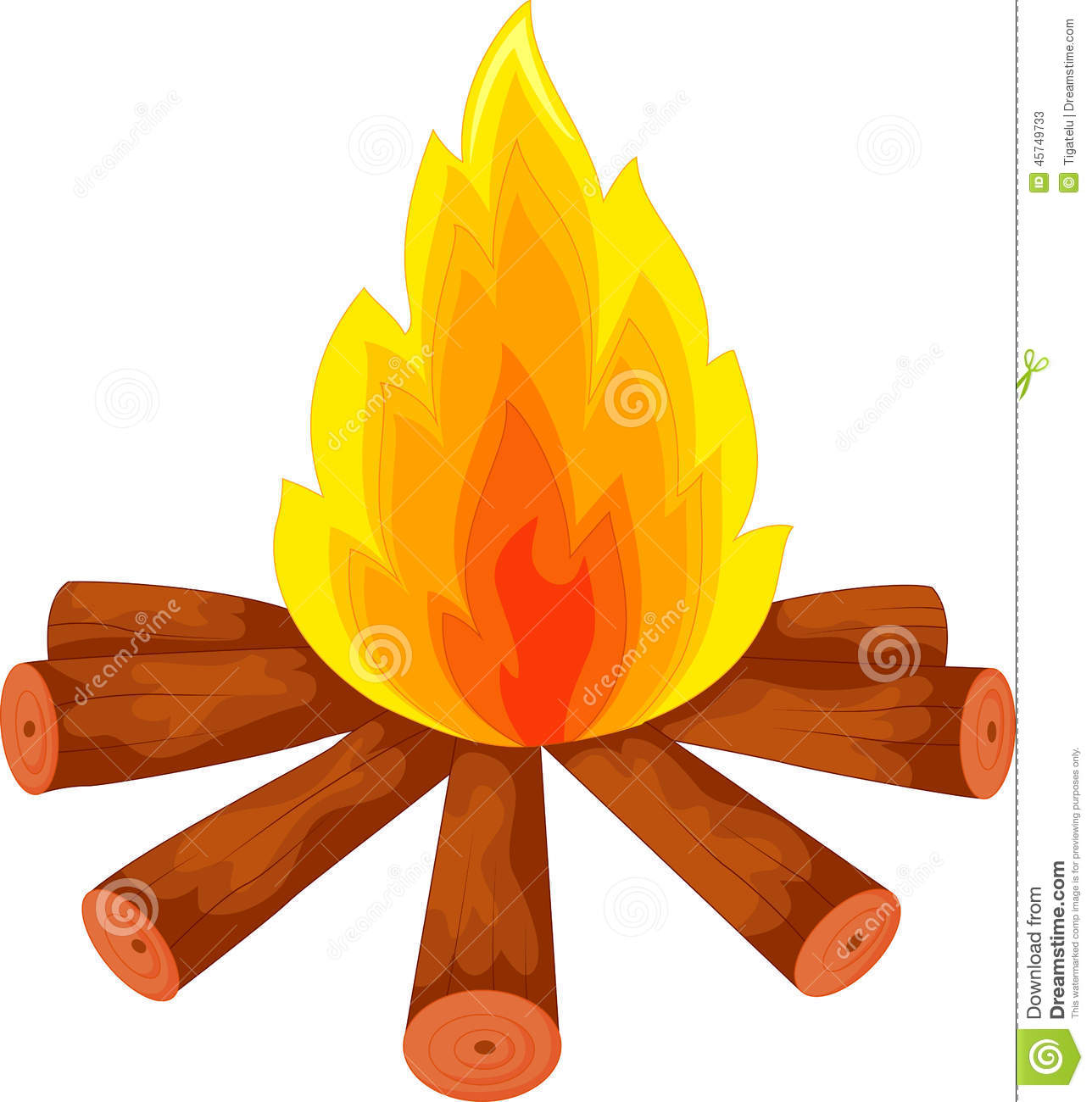 Firewood pencil and in. Campfire clipart vector