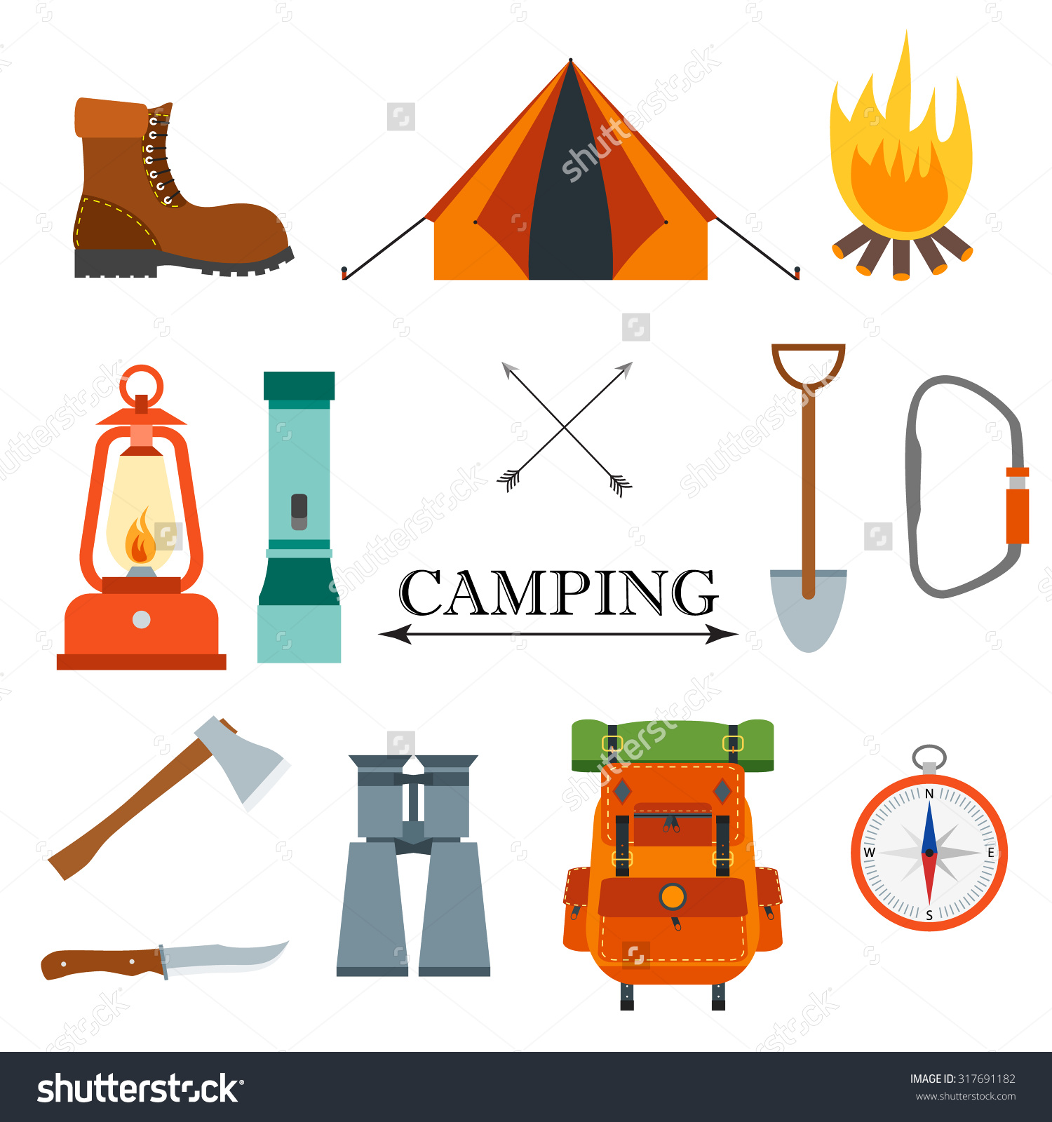 Campfire clipart vector. Compass explore pictures