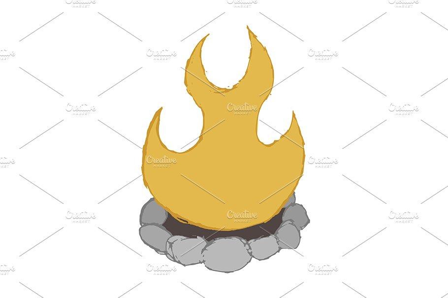 Cartoon sketch . Campfire clipart vector