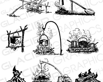 Camping hunting fishing illustrations. Campfire clipart vintage