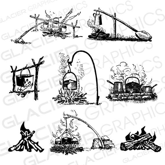Camping outdoor cooking . Campfire clipart vintage