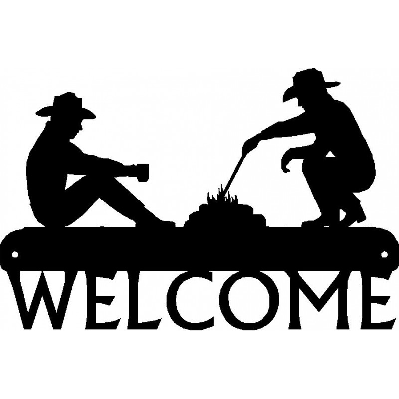 Campfire clipart western. Welcome sign cowboy