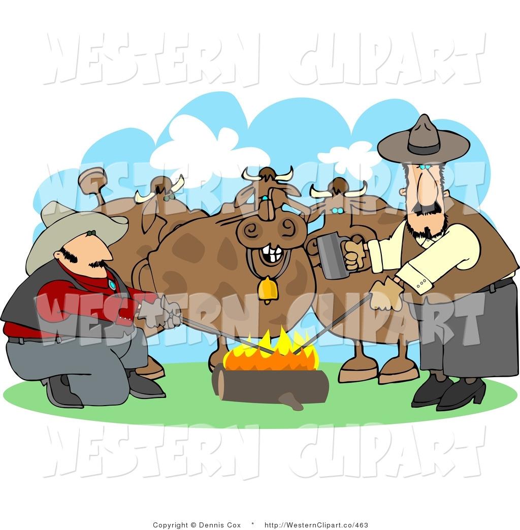 Clip art of a. Campfire clipart western
