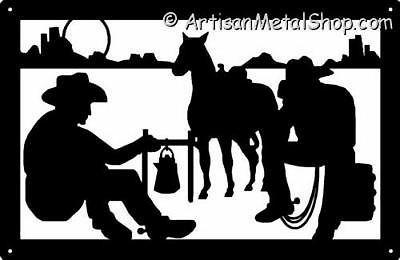 Cowboys at metal wall. Campfire clipart western