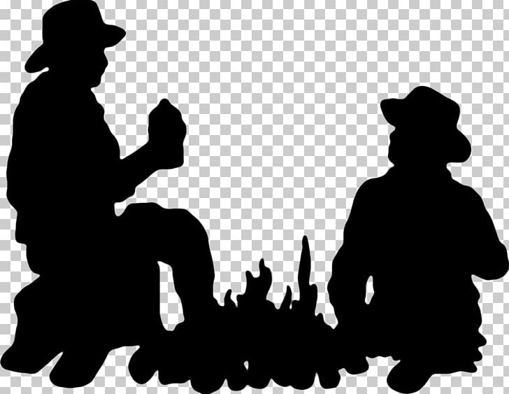 Silhouette cowboy png animals. Campfire clipart western