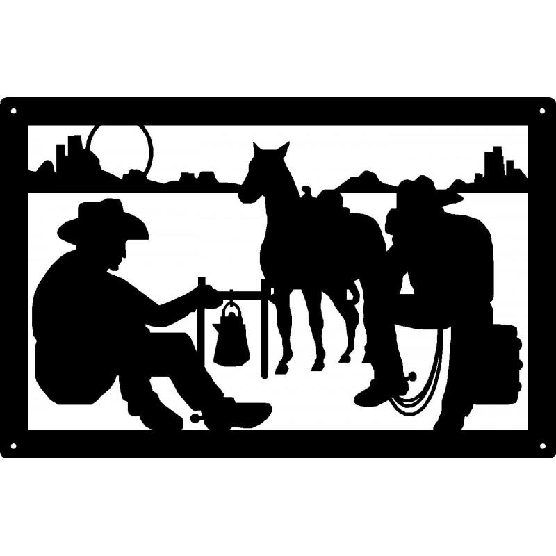 Cowboy night at wall. Campfire clipart western