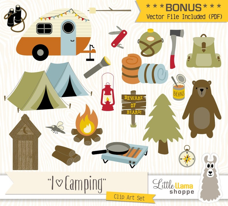 Camping clipart. Vector backpacking clip art