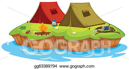 Vector art on an. Camping clipart base camp