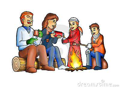 People camping . Camp clipart bon fire