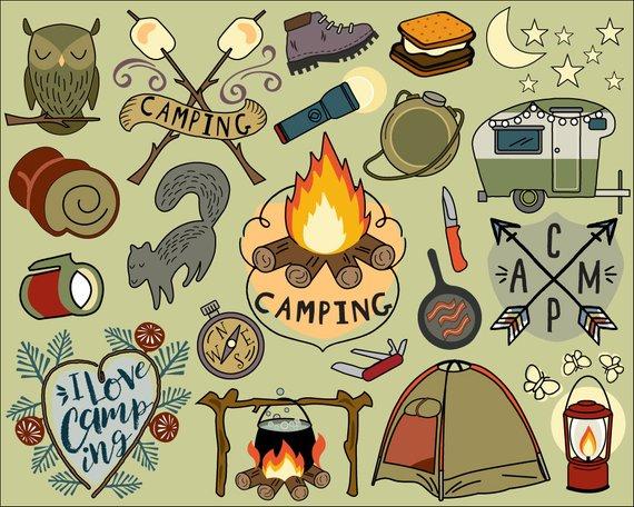 Camping clipart campfire. Summer bullet journal stickers