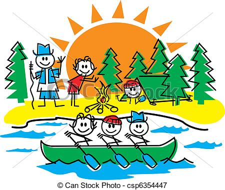 Stick figure family panda. Camping clipart campground