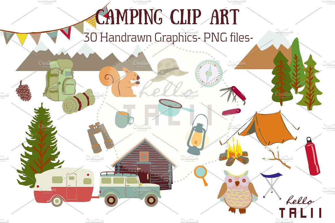Camp clipart campsite. Camping clip art illustrations
